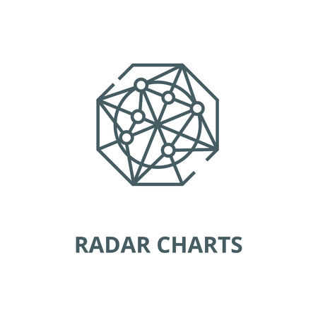 Radar charts vector line icon, outline concept, linear sign