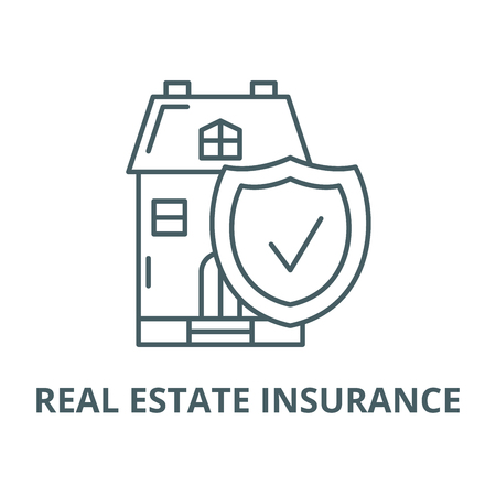 Real estate insurance vector line icon, outline concept, linear sign