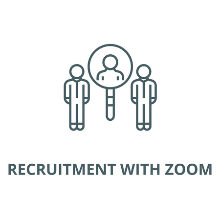 Recruitment with zoom vector line icon, outline concept, linear sign