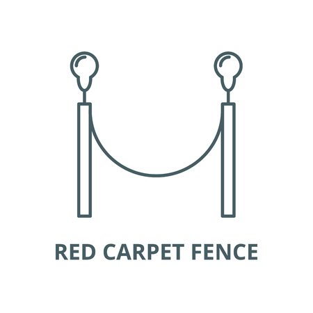 Red carpet fence vector line icon, outline concept, linear sign