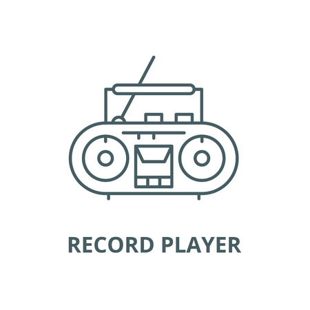 Record player vector line icon, outline concept, linear sign