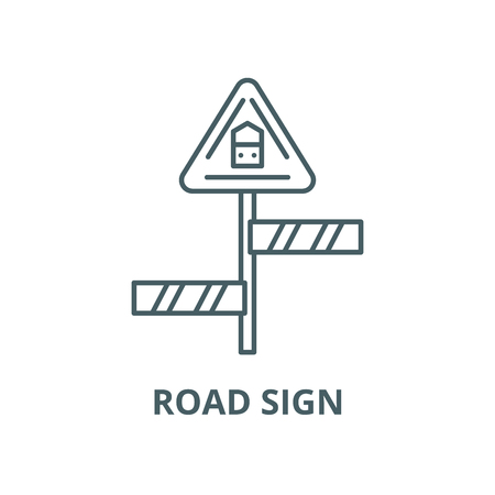 Road sign vector line icon, outline concept, linear sign