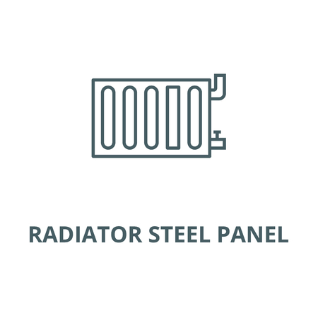 Radiator steel panel vector line icon, outline concept, linear sign
