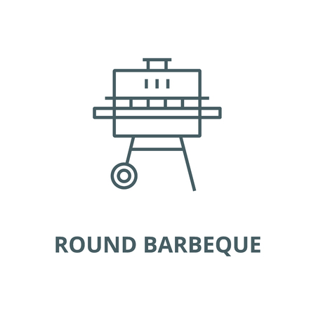 Round barbeque vector line icon, outline concept, linear sign
