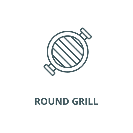 Round grill  vector line icon, outline concept, linear sign