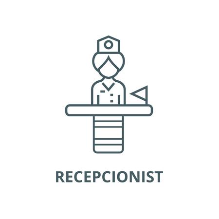 Recepcionist vector line icon, outline concept, linear sign 写真素材 - 122348418