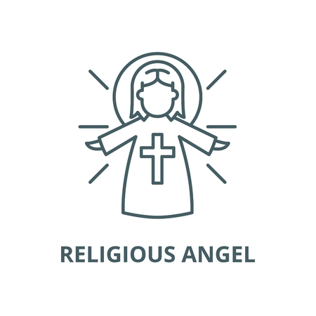 Religious angel vector line icon, outline concept, linear sign Archivio Fotografico - 122348423