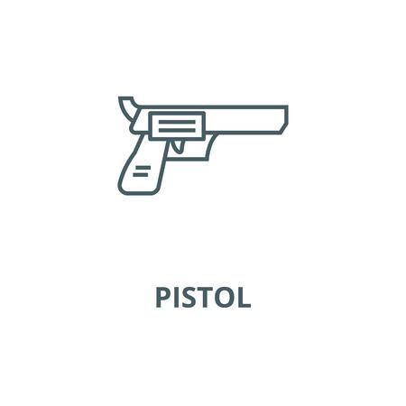Revolver, pistol vector line icon, outline concept, linear sign