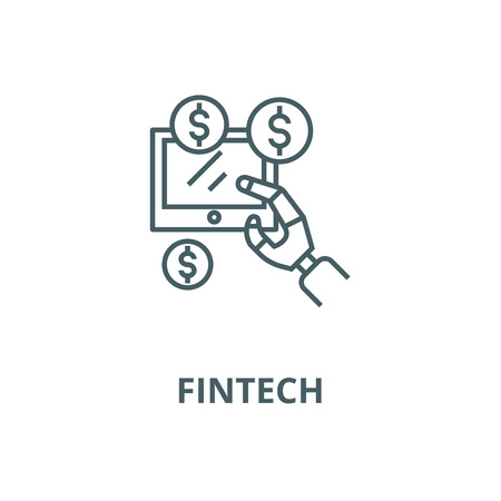 Robot hand, tablet with money, a vector line icon, outline concept, linear sign Illustration