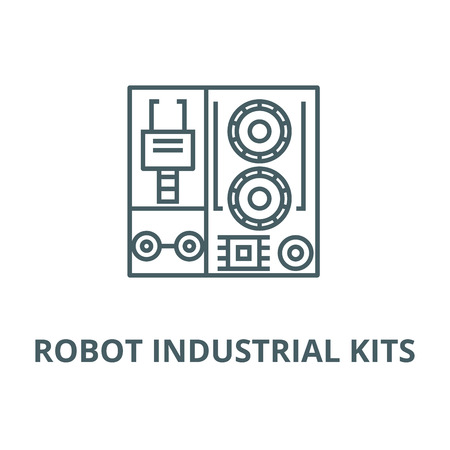 Robot industrial kits vector line icon, outline concept, linear sign