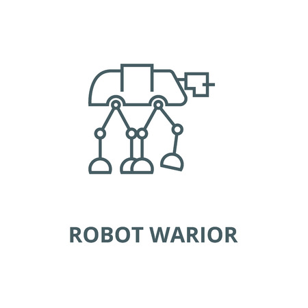 Robot warior, armored transport  vector line icon, outline concept, linear sign