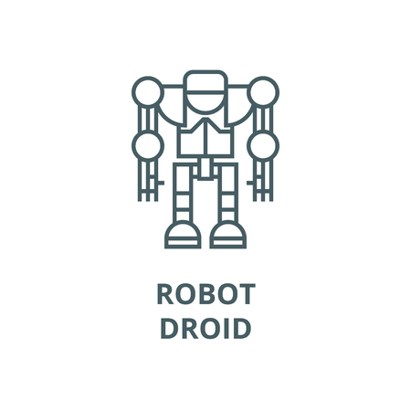 Robot,droid vector line icon, outline concept, linear sign