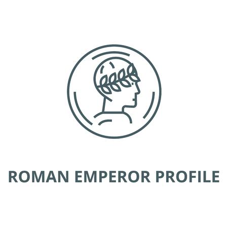 L'icône de la ligne du vecteur de profil de l'empereur romain, concept de contour, signe linéaire Vecteurs