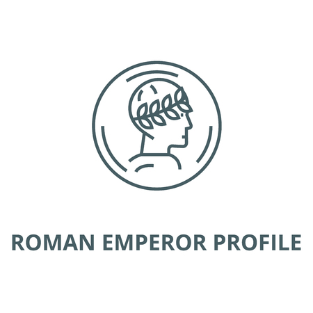Roman emperor profile vector line icon, outline concept, linear sign