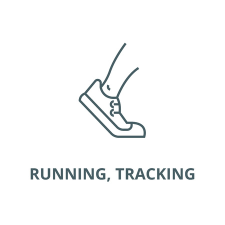 Running, tracking vector line icon, outline concept, linear sign Stock Illustratie