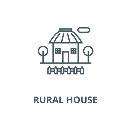 Rural house vector line icon, outline concept, linear sign