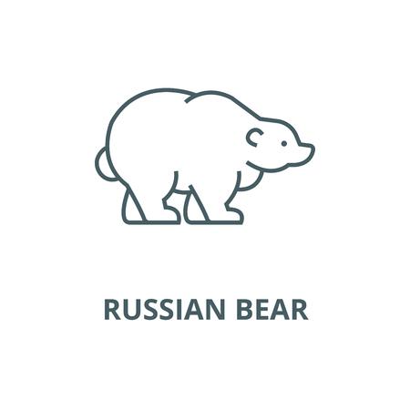 Rosyjski niedźwiedź wektor linii ikona, koncepcja konspektu, liniowy znak