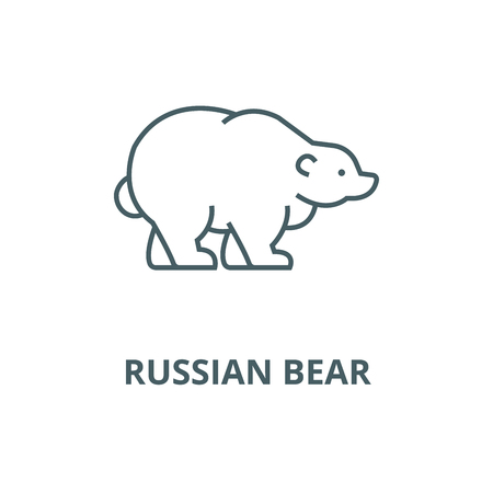 Russian bear vector line icon, outline concept, linear sign