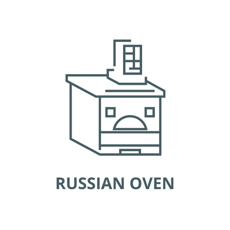 Russian oven vector line icon, outline concept, linear sign Illustration