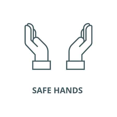 Safe hands  vector line icon, outline concept, linear sign