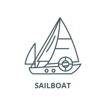 Sailboat vector line icon, outline concept, linear sign