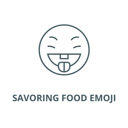 Savoring food emoji vector line icon, outline concept, linear sign Иллюстрация