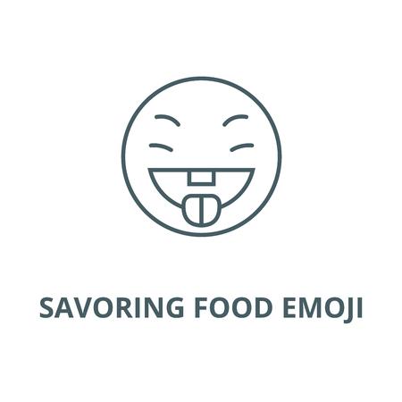 Savoring food emoji vector line icon, outline concept, linear sign Illustration