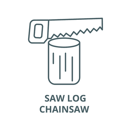 Saw log,chainsaw  vector line icon, outline concept, linear sign Standard-Bild - 122348469