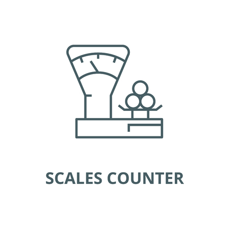 Scales counter,shop vector line icon, outline concept, linear sign Illustration