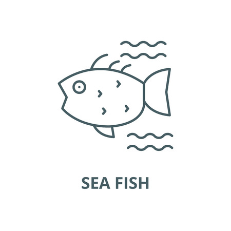 Sea fish vector line icon, outline concept, linear sign