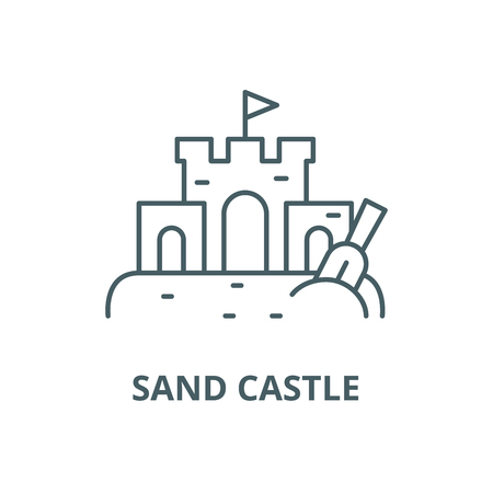 Sand castle vector line icon, outline concept, linear sign Illustration