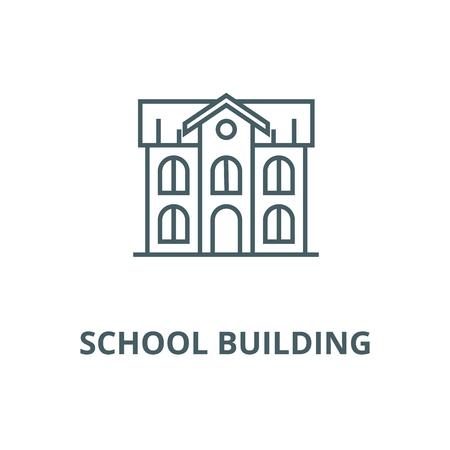 School building vector line icon, outline concept, linear sign