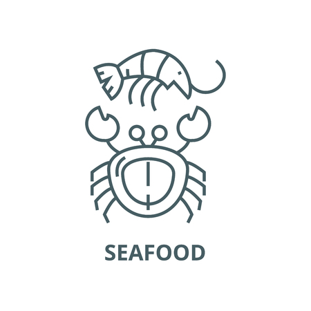 Seafood vector line icon, outline concept, linear sign