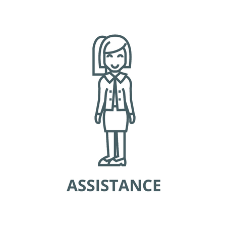Secretary,office woman,assistance vector line icon, outline concept, linear sign