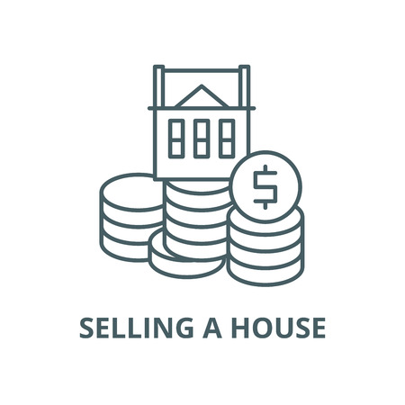 Selling a house vector line icon, outline concept, linear sign