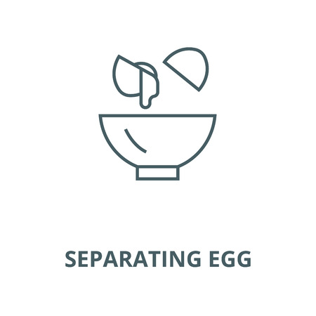 Separating egg white and yolks vector line icon, outline concept, linear sign