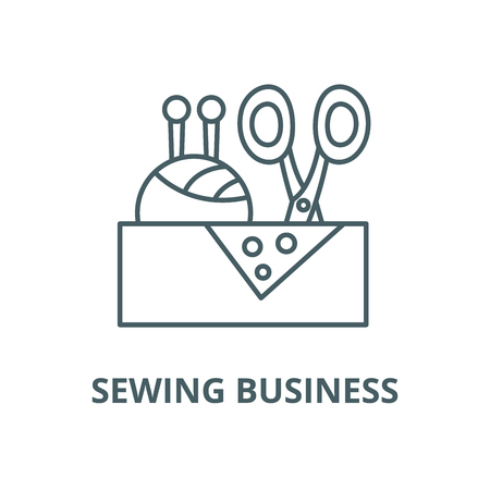 Sewing business vector line icon, outline concept, linear sign