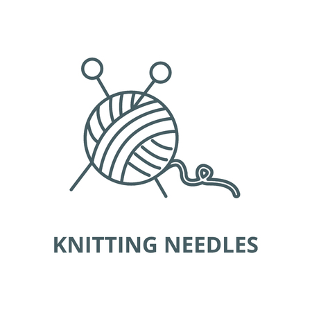 Sewing,ball of yarn,knitting needles vector line icon, outline concept, linear sign Illustration