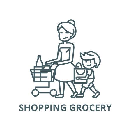 Compras de abarrotes, madre con hijo línea vector icono, concepto de esquema, signo lineal Ilustración de vector