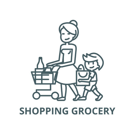 Shopping grocery,mother with son  vector line icon, outline concept, linear sign