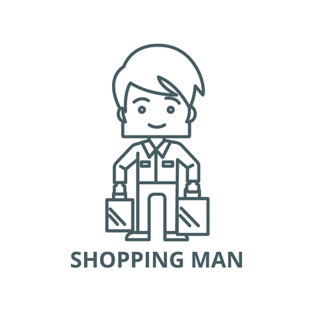 Shopping man taking bags vector line icon, outline concept, linear sign