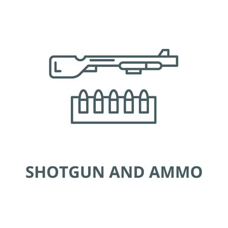 Shotgun and ammo vector line icon, outline concept, linear sign