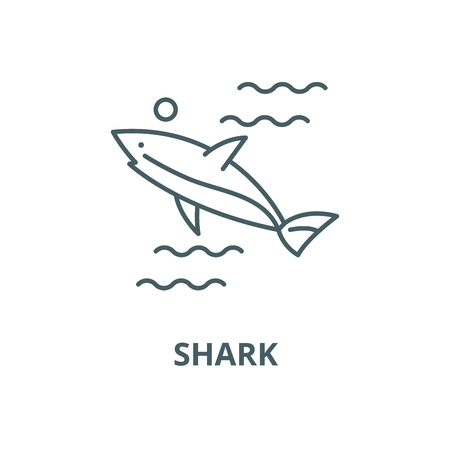 Shark vector line icon, outline concept, linear sign