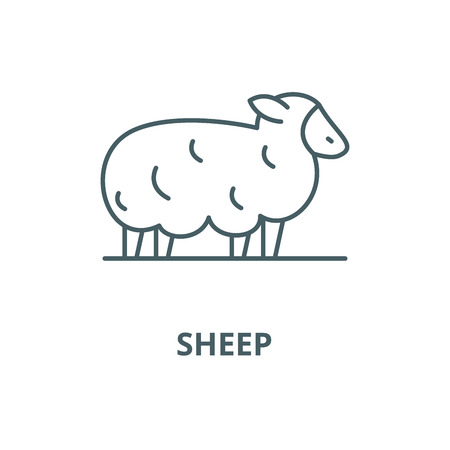 Sheep vector line icon, outline concept, linear sign