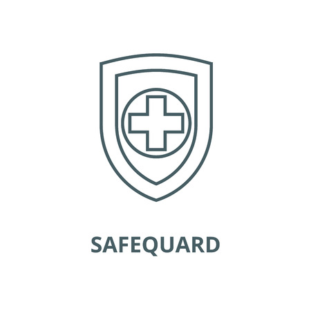 Shield, safequard vector line icon, outline concept, linear sign