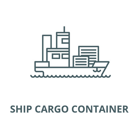 Ship cargo container  vector line icon, outline concept, linear sign