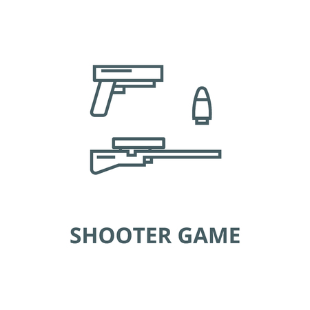 Shooter game, gun, rifle, bullet vector line icon, outline concept, linear sign Ilustração