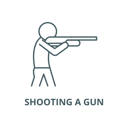 Shooting a gun vector line icon, outline concept, linear sign Ilustração