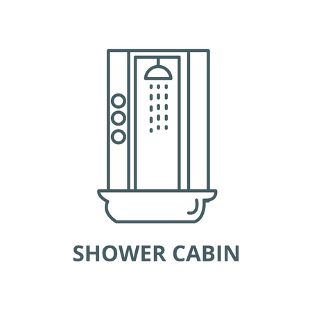 Shower cabin vector line icon, outline concept, linear sign