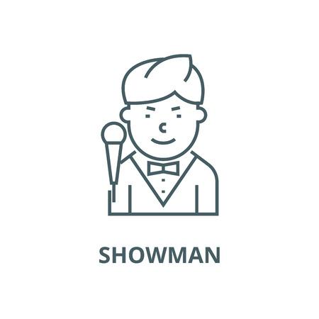 Showman vector line icon, outline concept, linear sign Banque d'images - 122348801